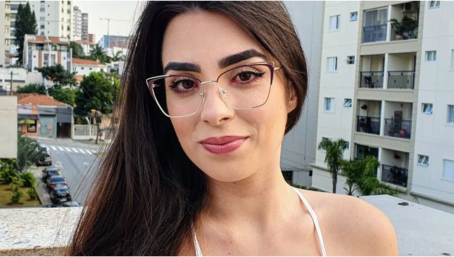 Óculos Carla AZul com Nude - santograu